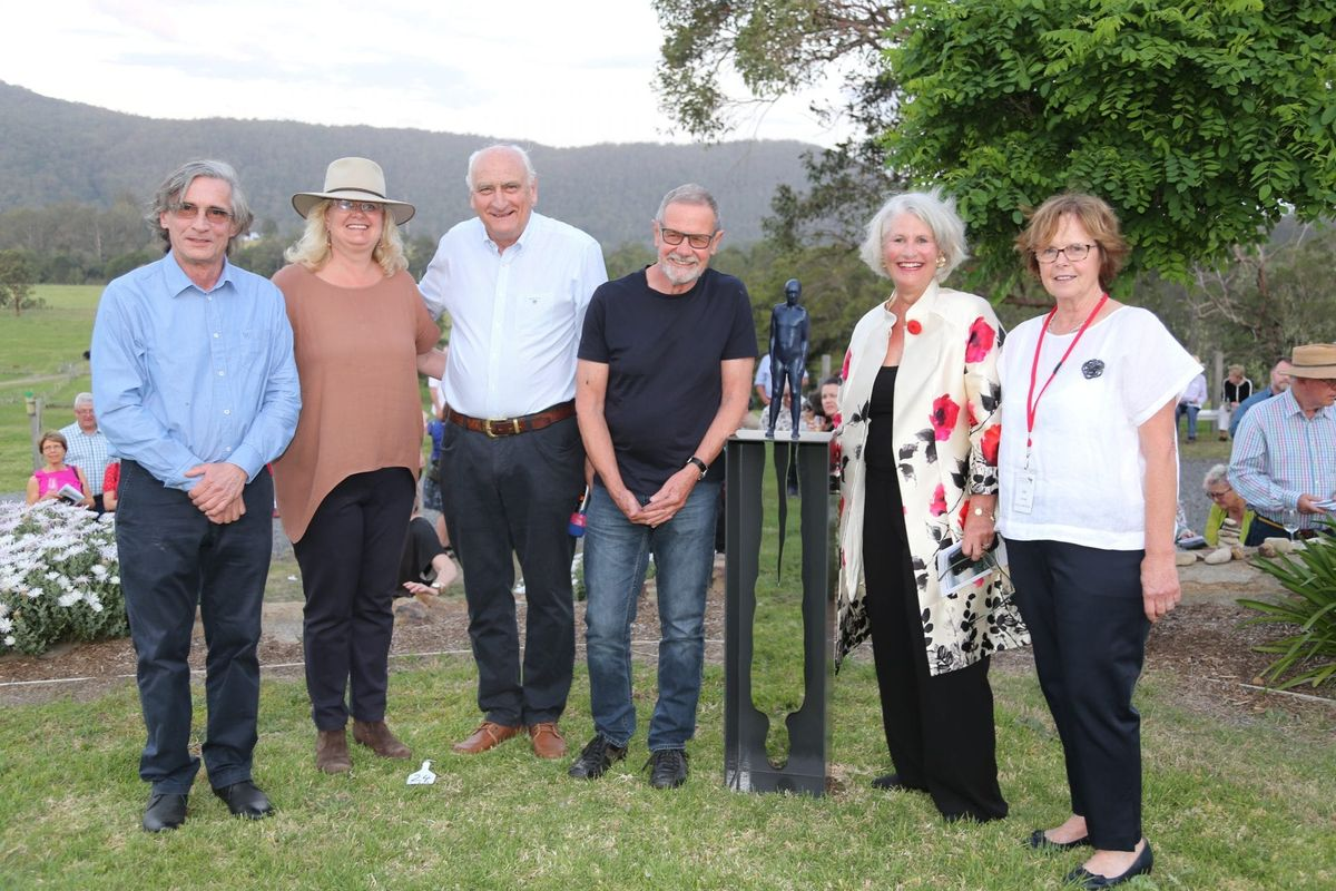 Peter tilley with his winning work, 'Theatre of the Shadow' surrounded by the SOF judges and Committee members